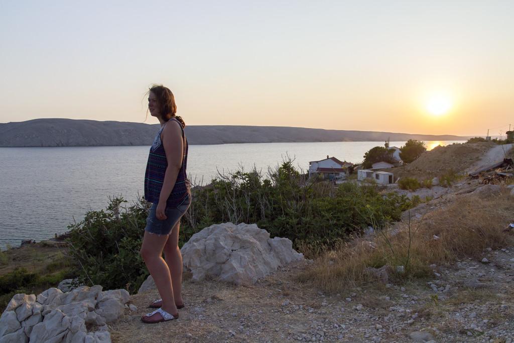 Op de terugweg nog even genieten van de mooie zonsondergang op Pag!