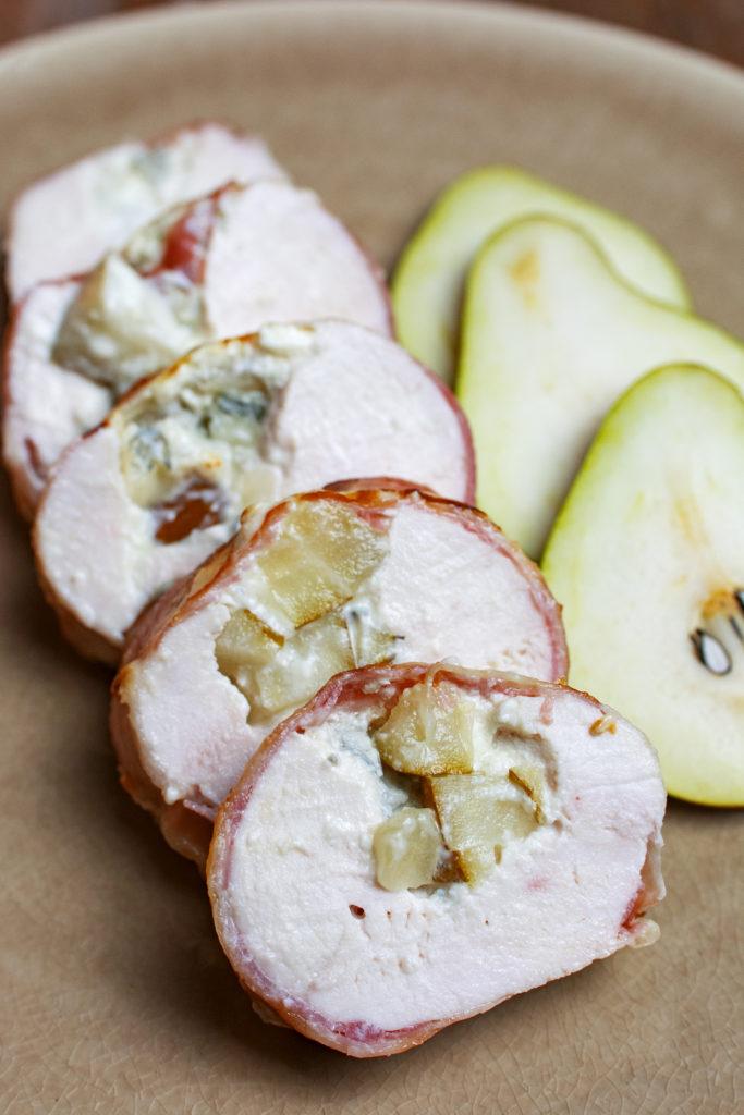 gevulde kipfilet met gorgonzola en peer